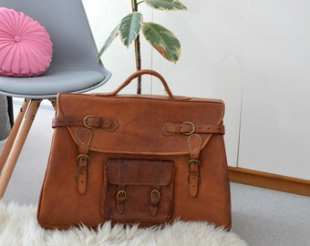 Oversized Men's  Bag Vintage Travel Bag  Extra Large Big Bag  Brown Leather Handbag