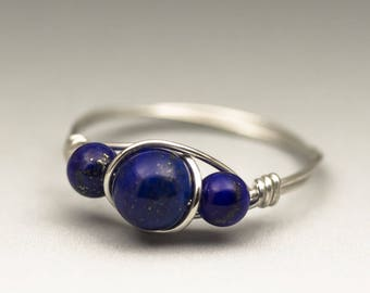 Lapis Lazuli Gemstone Sterling Silver Wire Wrapped Ring - Made to Order, Ships Fast!