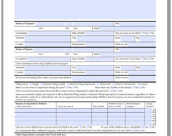 Tax Organizer for Individual Taxpayers INSTANT PDF DOWNLOAD