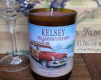 Old car soy wax candle - soy candle - wine bottle soy candle - hand poured candle - surfboard candle - wine candle