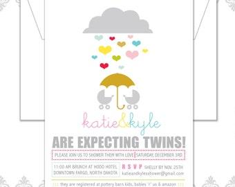 Twins Baby Shower Invitation, Modern Twins Baby Invite, Umbrella hearts, Retro twins baby invite, Boy twins shower invite, Girl Twins i