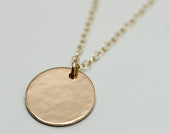 Gold Disc Necklace Hammered Gold Disc Necklace Delicate Gold