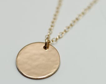Gold disc necklace dainty gold necklace delicate gold gold disc necklace dainty gold necklace delicate gold jewelry minimalist necklace simple necklace hammered gold circle necklace aloadofball Gallery