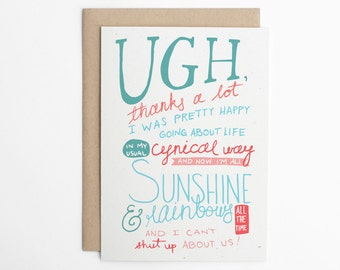 Valentine's Day Card, Love Card, Sarcastic Card, Anniversary Card, Funny Love Card, Card for Her, Card for Him/C-150