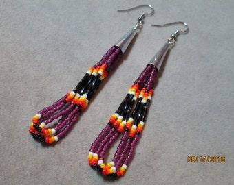 Native Style plum seed bead earrings