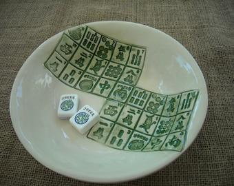 Vaisselle de Mahjong Mahjong bol - Mahjong - Mahjong cadeau - la poterie bol Oriental - poterie artisanale - idée de cadeau-