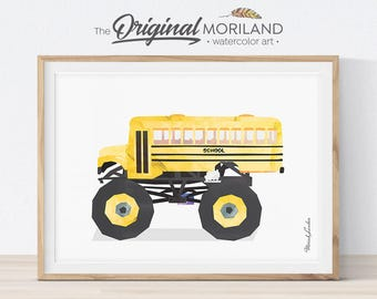 School Bus Monster Truck Print, Transportation Art, Monster Truck Birthday, Boys Nursery Decor, Truck Prints, Monster Truck Art, Printable