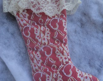 Vintage White Gold Lace Red Christmas Stocking, Christmas Stocking, Rennoc Christmas Stocking, Rennoc, Elegant White Lace Fringe Stocking
