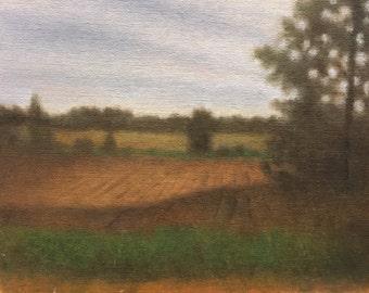 Original Impressionist Oil Painting 8x10        'Plowed Fields at Dusk'