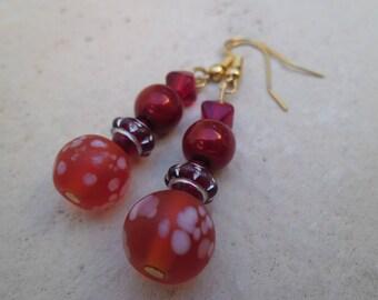 Earrings red glass beads