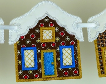 "Snowcapped House In The Hoop Banner Machine Embroidery Design Applique Patterns all done In-The-Hoop 2 variations 3 sizes 4"", 5"" and 6"""