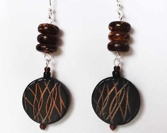 Double Drop Mocha Leather and Wood Bead Earrings - Etched Leather Earrings - Earthy Brown Earrings