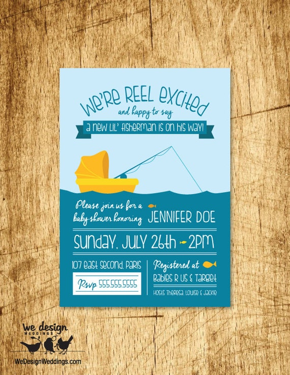 Fishing baby shower invitation custom invitation fishing baby shower invitation custom invitation printable digital download 5x7 filmwisefo Image collections