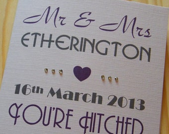 Wedding Day Handmade Personalised Card - You're Hitched