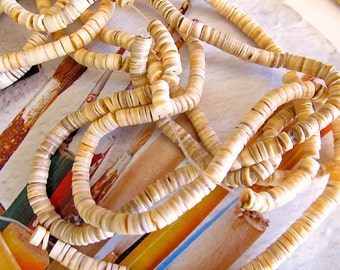 Melon Heishi Shell Beads, Peach Luana Shell Discs, Natural Heishi Voluta Wafers, Orange Washers, 3mm, 1 strand