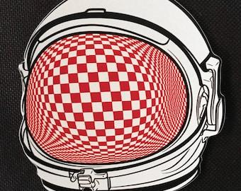 Psychedelic Astronaut Optical Art Sticker 3x3 Vinyl Die Cut Art Weatherproof