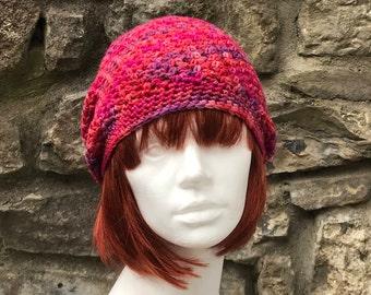 Red Slouchy Beanie Adult Crochet  Merino Hat