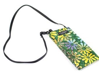 Eyeglass case for readers - Batik Floral fabric Eyeglass Reader Case -with adjustable neck strap lanyard