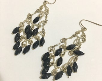 SVE4# Handmade 925 silver faceted crystal chandelier earrings. Dainty Handcrafted Swarovski Jet Black Crystal