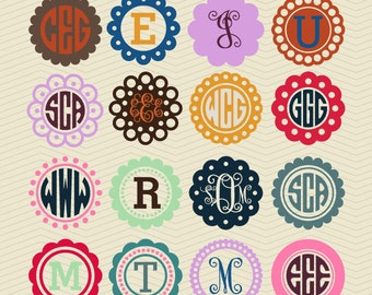 16 Circle Scalloped Monogram Dotted Frames DXF SVG EPS Cricut Design, Silhouette studio, Sure Cuts Lot, Make the Cut, Dots decal Download