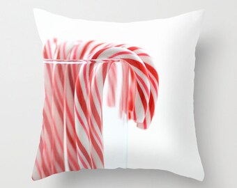 Christmas Pillow Cover, Holiday Cushion Case, Festive Red and White Striped Home Decor, Gift for Grandmother, Sized from 14x14 to 30x30