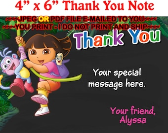 Dora the Explorer, Thank You Note, Dora Thank you Card, Dora Gift Tag, Dora Party, Dora Birthday - THANKYOU13