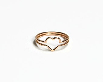 Anello in oro rosa 18 carati, anello in oro rosa massiccio, amore anello, anello di anniversario 18 kt, anello cuore, anello romantico oro 18 carati, anello 18 kt, simbolico