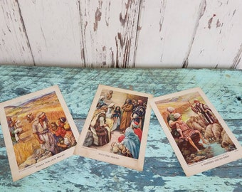 Antique Religious Lithograph Prints by Providence Lithograph - Vintage Religious Gift or Home Decor, Retro Unframed Prints, Shepherd + Jesus