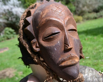 Antique Hand Carved Pwo African Mask