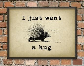 I just want a hug - Porcupine Wall Art Poster