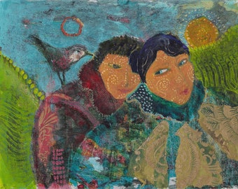 Two Friends and a Bird. Lovers, friends, attuned to Spirit, creating unity and strength. http://www.judithbirdart.com/