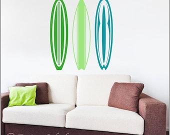 Surfboard Decal, Surfing Sticker, Beach Decor, Surfer Wall Art, Kid's Surf Room, Beach Den, Playroom Decor B-106