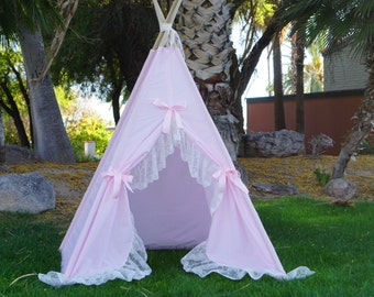 Pinkaholic lace teepee, kids Teepee, tipi, Play tent, wigwam or playhouse with extra long ruffle
