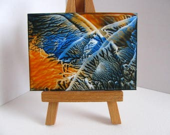 ACEO Tangerine, Blue Abstract Encaustic (Wax) Original Painting / Miniature Art for Collectors / Dollhouse Art / SFA (Small Format Art)