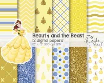 "Belle, Beauty and the Beast, digital paper pack, instant download, 12"" x 12"""