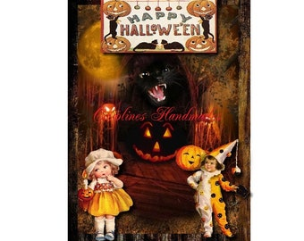 "Happy Halloween Designer Art Collage Cotton Fabric Quilt Block (1) @ 5X7"" on 8.5X11"" Sheet"