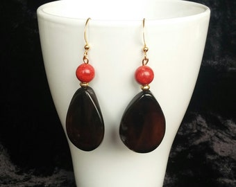 Silver Earrings with gold bath, black agates and coral
