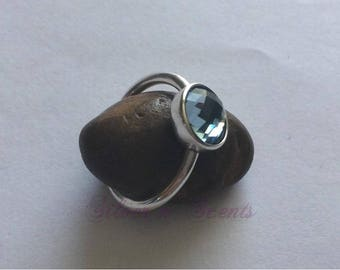 Sterling Silver Blue Topaz Stack Ring