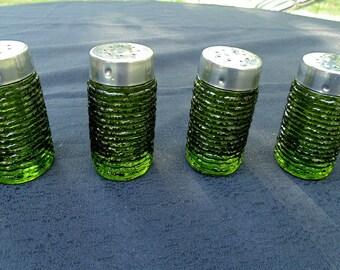 Vintage. Salt / Pepper. Anchor Hocking. SORENTO. 2 sets. Salt Pepper Shakers. Restaurantware. Sorento. 1970s. Avocado Green. Glass. Kitchen