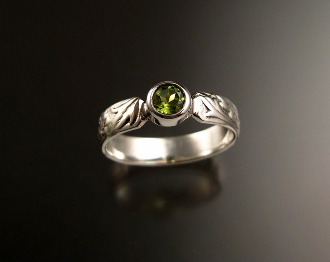Peridot Ring Sterling silver square stone Victorian Vine pattern band Ring made to order in your size