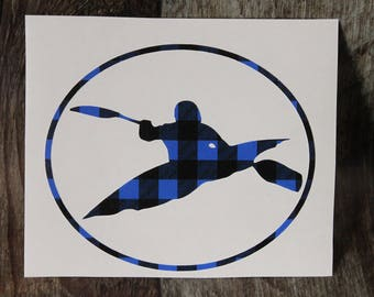 KAYAK Car Decal, Buffalo Plaid Sticker, Window Kayak Decal, Kayaking Vinyl Decoration, Plaid Kayak Decal, Paddling Decal!