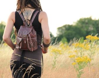 HABIBI   Brown Womens Leather Backpack, Leather Rucksack, Shoulder Bag, Leather Bag, Leather Pouch, Satchel, Fashion Backpack, Mini Backpack