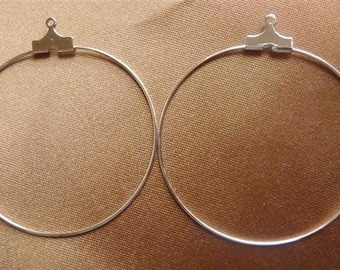 Beading hoop, silver-plated brass, 40mm,  Sold per pack of 12 hoops.