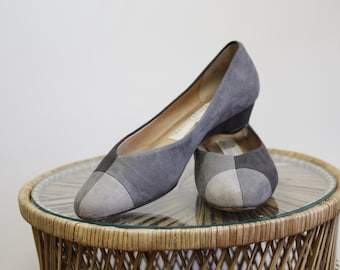 Vintage Three Toned Grey Flats, Suede Slip Ons SZ 8.5, Minimalist Block Colored Dress Shoes