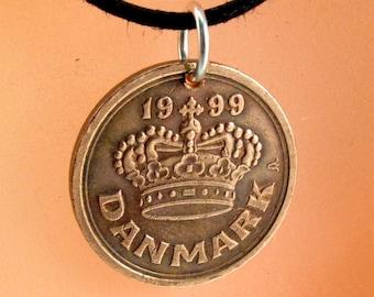 Denmark Necklace. Denmark Coin Pendant .  Ore Charm . Danish Ore . Vintage Coin NO.00303