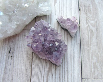 2pc Amethyst Druzy Cluster - Gemstone Specimen - Natural Purple Crystal