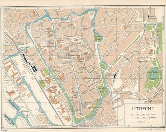 1933 Utrecht Netherlands (Holland) Antique Map
