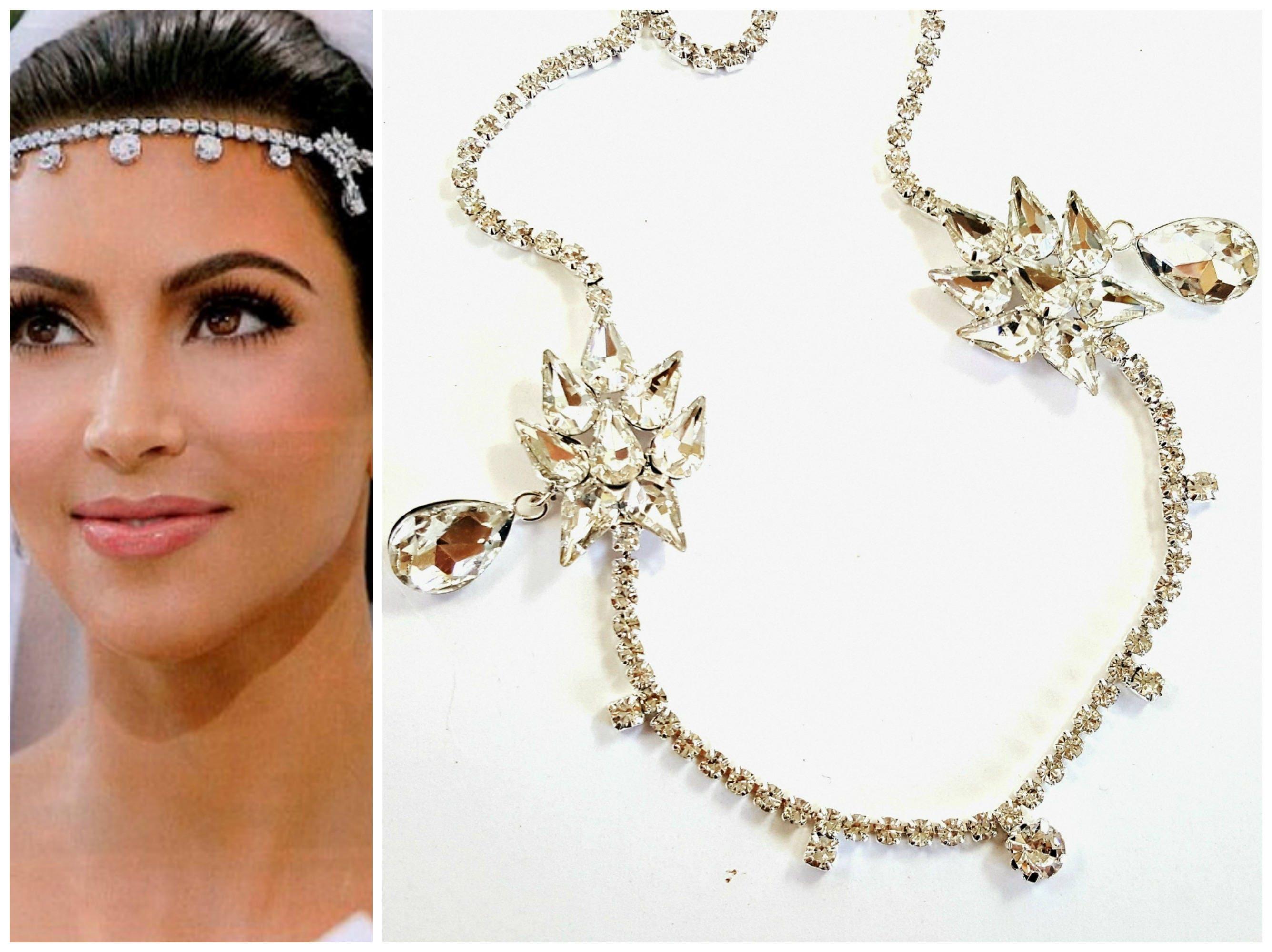 Verkauf Kim Kardashian inspirierte Hochzeit Braut Kopfschmuck