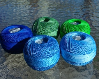 FULL SPOOLS - Size 20 Lizbeth Tatting Thread -  Handy Hands - Lagoon Mix - 5 Colors - 403, 404, 703, 707 and 712 - 1050 Yards Total