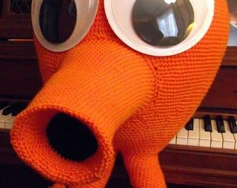 Giant Q*bert, a Handmade Crochet Computer Creature Doll